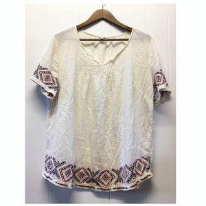 Sonoma | Boho Cream Top Beaded & Embroidered EUC